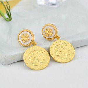 Tory Burch Fine Embossed Coin Stud Earrings